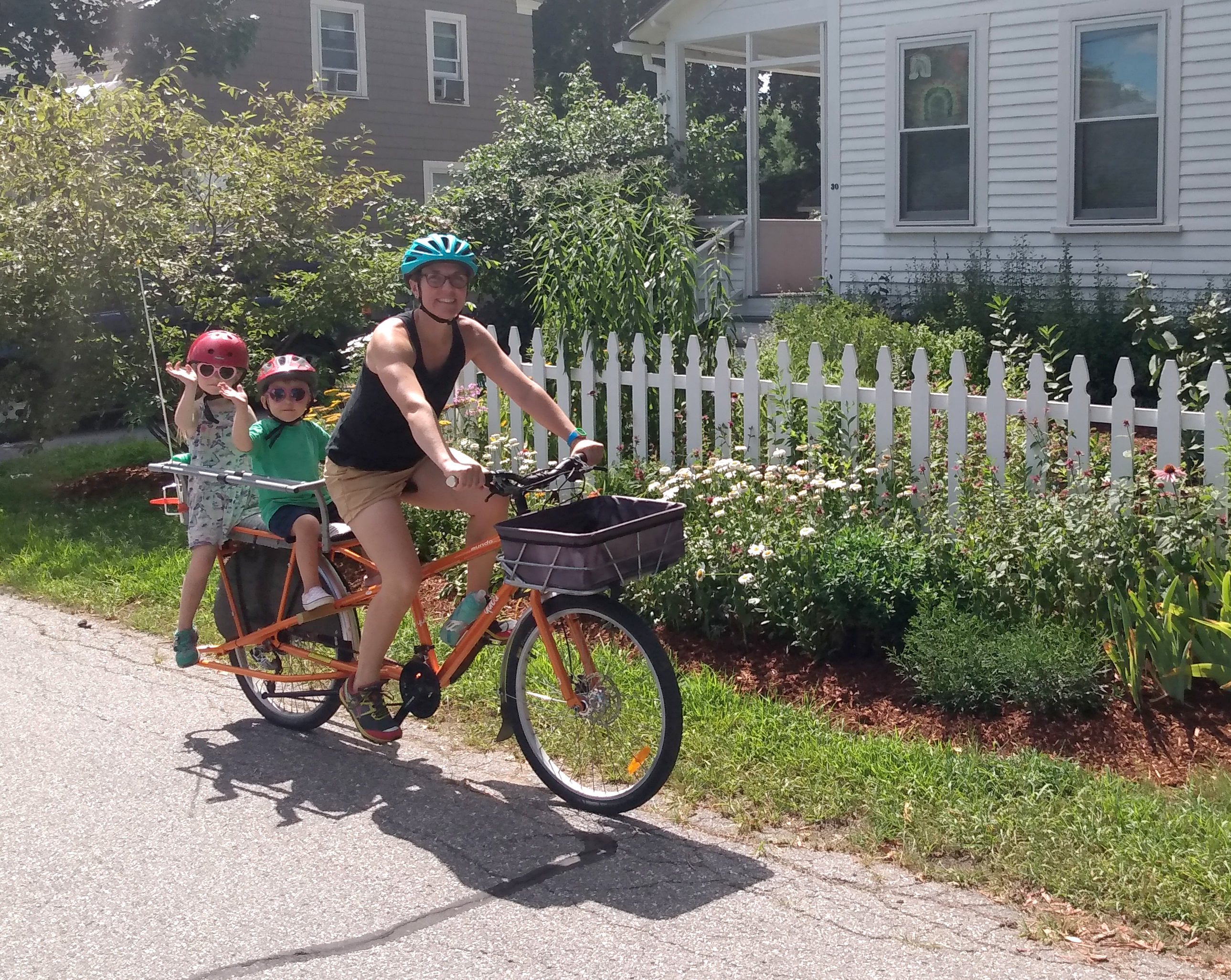 Jean Marie Bryenton with her kids Callum and Juno out on a cargo bicycle ride last July.